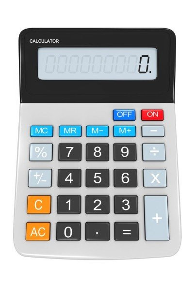 Calculator isolated on white background. 3D render